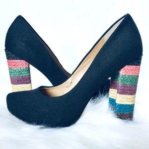 NINE WEST | Pumps Black Canvas Rainbow Woven Heel